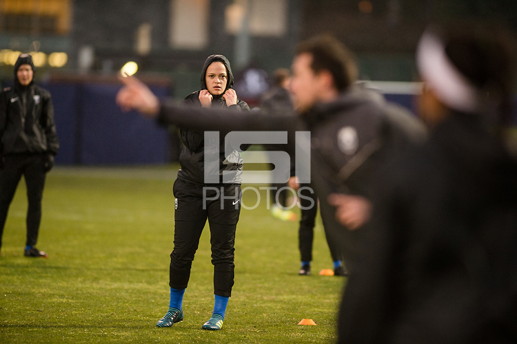 Seattle, WA - Thursday, March, 08, 2018: Stephanie Ribeiro during a preseason match between the Seattle Reign FC and University of Washington at Husky Soccer Stadium.