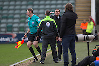 Plymouth Argyle manager Derek Adams expresses an opinion to the fourth official during the Sky Bet League 2 match between Plymouth Argyle and Wycombe Wanderers at Home Park, Plymouth, England on 30 January 2016. Photo by Mark  Hawkins / PRiME Media Images.