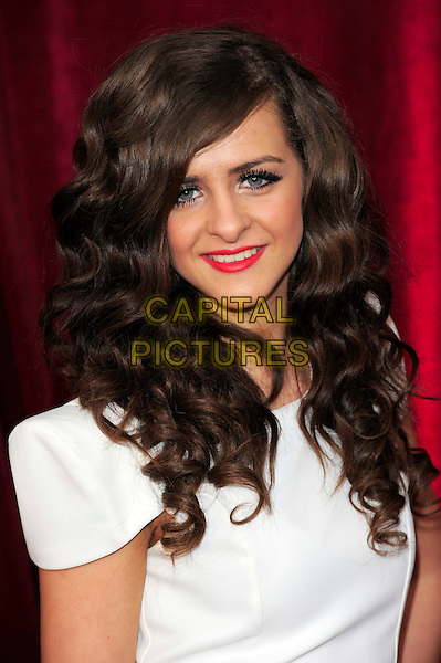 REBECCA RYAN.British Soap Awards 2010 at the London ITV Studios, South Bank, London, England..May 8th 2010.arrivals headshot portrait white red lipstick mascara make-up shoulder pads .CAP/CJ.©Chris Joseph/Capital Pictures.