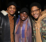 "Jeremy Pope, Danielle Brooks and Ephraim Sykes backstage after a performance of ""Ain't Too Proud"" at the Imperial Theatre on April 11, 2019 in New York City."