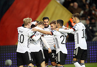 19th November 2019, Frankfurt, Germany; 2020 European Championships qualification, Germany versus Northern Ireland;  Goal celebration for 3-1 for Germany by Serge Gnabry Germany