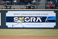 Right fielder Jose Miguel Medina (12) of the Columbia Fireflies lunges for a fly ball on Opening Day, Thursday, April 4, 2019, the first game in the newly renamed Segra Park, which was formerly known as Spirit Communications Park in Columbia, South Carolina. (Tom Priddy/Four Seam Images)