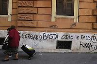 Roma, 20 Novembre 2008.Scritta contro Concita De Gregorio firmata Forza Nuova nei pressi della abitazione della direttora de L'Unità.Rome, 20 November 2008.Written against Conchita De Gregorio signed Forza Nuova near the home of the editor of newspaper L'Unità