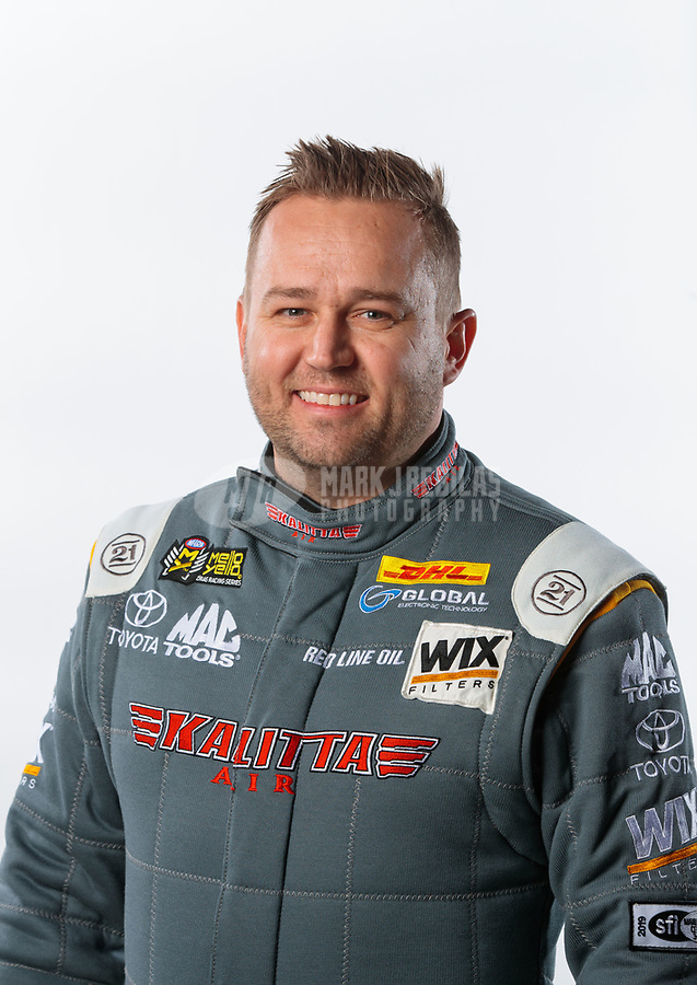 Feb 6, 2019; Pomona, CA, USA; NHRA top fuel driver Richie Crampton poses for a portrait during NHRA Media Day at the NHRA Museum. Mandatory Credit: Mark J. Rebilas-USA TODAY Sports