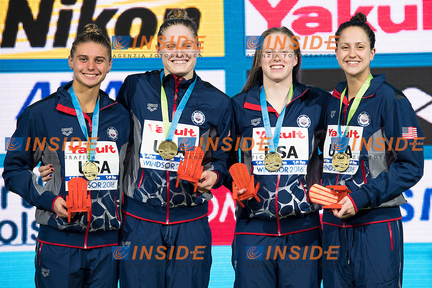 United States USA Gold Medal<br /> Women's 4x50m Medley Relay <br /> DE LOOF Alexandra Margaret KING Lilly WORRELL Kelsi <br /> KONOPKA Katrina Marie <br /> 13th Fina World Swimming Championships 25m <br /> Windsor  Dec. 7th, 2016 - Day02 Finals<br /> WFCU Centre - Windsor Ontario Canada CAN <br /> 20161207 WFCU Centre - Windsor Ontario Canada CAN <br /> Photo &copy; Giorgio Scala/Deepbluemedia/Insidefoto