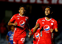 CALI-COLOMBIA, 29-10-2019: Jugadores de América de Cali, celebran el gol anotado a Deportivo Pasto, durante partido entre América de Cali y Deportivo Pasto, de la fecha 20 por la Liga Aguila II 2019 jugado en el estadio Pascual Guerrero de la ciudad de Cali. / Players of America de Cali celebrate a scored goal to Deportivo Pasto, during a match between America de Cali and Deportivo Pasto, of the 20th date for the Liga Aguila II 2019 at the Pascual Guerrero stadium in Cali city. / Photo: VizzorImage / Nelson Ríos / Cont.