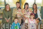 Christening - Noel & Margo O'Connor from Causeway, seated centre having a wonderful time with friends and family at the Christening celebrations for their son Aaron in The Ballyroe Heights Hotel on Saturday, pictured here with their children Leon & Alana and Aaron's Godmothers Martina O'Mahony and Kirsty O'Dowd.................................................................................................................................................................................. ............