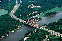 Aerial view of  bridge over Mohawk River, Southern Saratoga County, New York