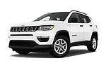 Stock pictures of low aggressive front three quarter view of a 2018 Jeep Compass Sport 5 Door SUV