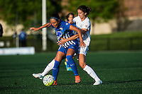 Allston, MA - Sunday, May 22, 2016: Boston Breakers forward Kyah Simon (17) and FC Kansas City midfielder Yael Averbuch (10) during a regular season National Women's Soccer League (NWSL) match at Jordan Field.