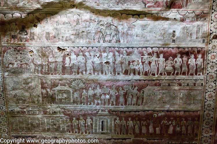 Mural Buddhist figures inside Dambulla cave Buddhist temple complex, Sri Lanka, Asia