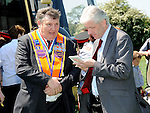 Jack Leetch talks to Drogheda Independent editor Hubert Murphy at the Orange Order march at Oldbridge the site of the battle of the Boyne in 1690. Photo: Colin Bell/pressphotos.ie