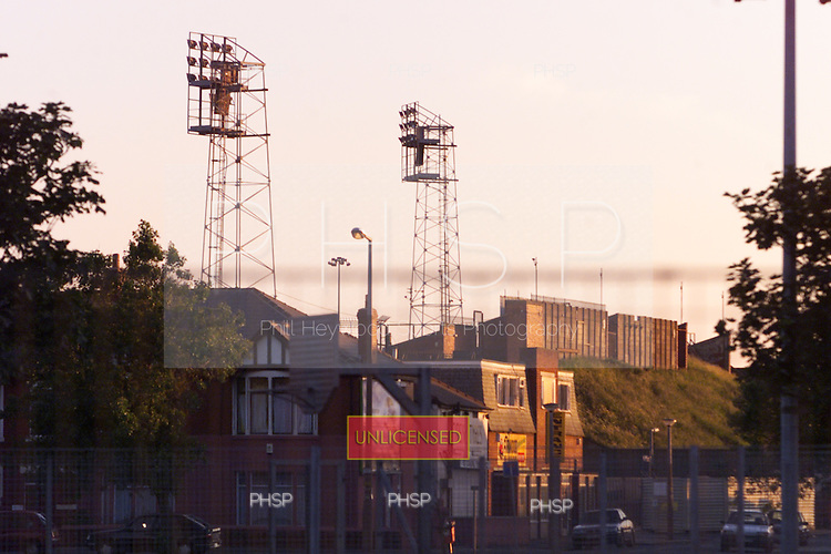 Floodlights and rear of Kop from across Revoe park......© Phill Heywood.tel 07806 775649