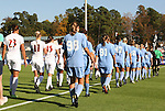 08 November 2009: The starters for both teams march onto the field. The University of North Carolina Tar Heels defeated the Florida State University Seminoles 3-0 at WakeMed Stadium in Cary, North Carolina in the Atlantic Coast Conference Women's Soccer Tournament Championship game.