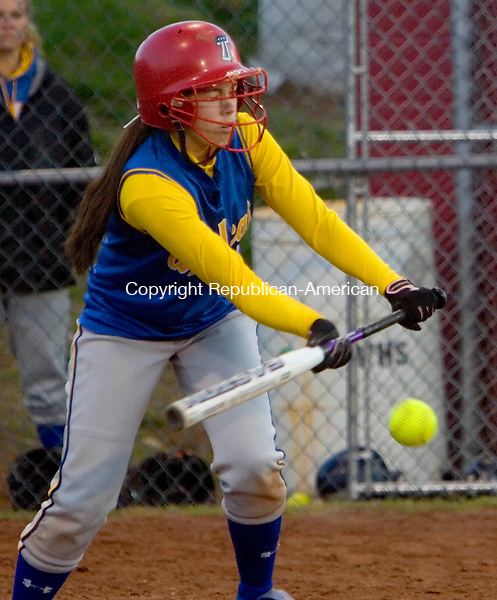 WOLCOTT, CT --MAY 22, 2008-052208JS08-Seymour's Katie Barsevich (19) attempts a bunt during their NVL semi-final game against Watertown Thursday at Wolcott High School. <br /> Jim Shannon/Republican-American