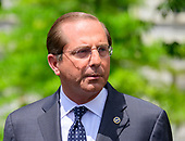 United States Secretary of Health and Human Services (HHS) Alex Azar makes a statement to reporters after a network interview on the North Driveway of the White House in Washington, DC on Friday, June 21, 2019.  Secretary Azar called on the US Congress to pass US President Donald J. Trump's supplemental funding package for HHS and the Department of Homeland Security to address the humanitarian crisis on the US southern border. <br /> Credit: Ron Sachs / CNP