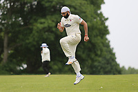 Monty Panesar warms up during Shenfield CC (batting) vs Hornchurch CC (Bowling) ,Shepherd Neame Essex League Cricket at Chelmsford Road on 12th May 2018