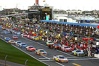 DAYTONA BEACH, FL - FEBRUARY 17: Greg Biffle leads the field out of the pit lane during the Daytona 500 NASCAR Sprint Cup race at the Daytona International Speedway in Daytona Beach, Florida, on February 17, 2008.