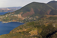 aerial view above vineyards at Mount Konocti Lake County Clearlake in northern California