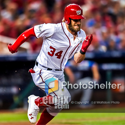 7 October 2017: Washington Nationals outfielder Bryce Harper in action during the second NLDS game against the Chicago Cubs at Nationals Park in Washington, DC. The Nationals defeated the Cubs 6-3 and even their best of five Postseason series at one game apiece. Mandatory Credit: Ed Wolfstein Photo *** RAW (NEF) Image File Available ***