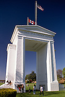 Peach Arch (American Side) at United States - Canada Border, Peace Arch State Park, Blaine, WA, Washington, USA - Douglas Border Crossing / Peace Arch International Border Crossing.  Beyond Monument (built 1921) is Peace Arch Provincial Park, Surrey (near White Rock), BC, British Columbia, Canada