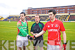 Saint Michaels-Foilmore Captain Kieran Granfield Referee Eddie Kinsella and Proinsias O'Keane, Trillick,  in the All Ireland Intermediate Semi-Final at Portlaoise on Sunday 25th January 2009