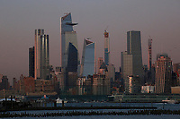 JERSEY CITY, NJ - OCTOBER 15: The sun sets on the skyline of Manhattan in New York City on October 15, 2019 as seen from Jersey City, New Jersey. New York City Mayor Bill de Blasio announced on March his $10-billion plan to protect lower Manhattan against sea level rise and storm surges (Photo by Kena Betancur/VIEWpress)