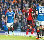 07.04.2018 Rangers v Dundee:<br /> Alfredo Morelos not happy as he looks over to Jamie Murphy