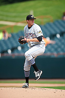 Akron RubberDucks starting pitcher D.J. Brown (33) during the second game of a doubleheader against the Bowie Baysox on June 5, 2016 at Prince George's Stadium in Bowie, Maryland.  Bowie defeated Akron 12-7.  (Mike Janes/Four Seam Images)