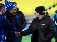 Blues head coach Tana Umaga shakes hands with Hurricanes head coach Chris Boyd after the Super Rugby match between the Hurricanes and Blues at Westpac Stadium in Wellington, New Zealand on Saturday, 7 July 2018. Photo: Dave Lintott / lintottphoto.co.nz