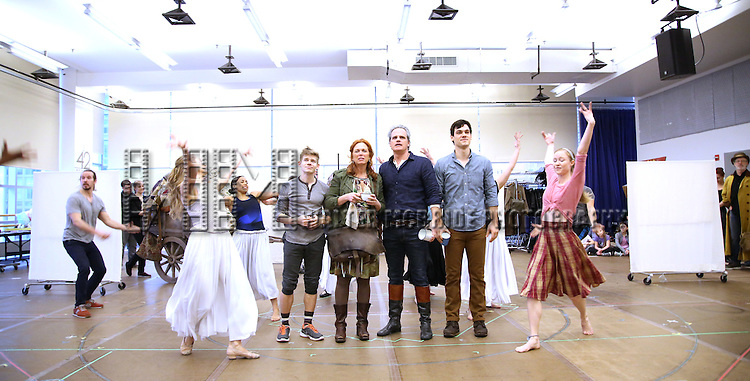 Andrew Keenan-Bolger, Carolee Carmello, Michael Park, Robert Lenzi and cast during the 'Tuck Everlasting' press sneak peek at the New 42nd Street studios on February 29, 2016 in New York City.