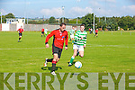 Dynamos Anthony Murphy get away from listowels Conor Cox at the Tralee Dynamos v Listowel celtic at Cahermoneen ground on Sunday