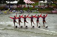 Water Ski show at Cypress Gardens..PROP-Cypress Gardens Shootout, Winter Haven, Florida, USA 22 October,2000 copyright©F.Peirce Williams 2000..F.Peirce Williams .photography.P.O.Box 455  Eaton,OH 45320 USA.p: 317.358.7326  e: fpwp@mac.com