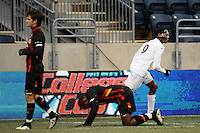 Notre Dame Fighting Irish forward Leon Brown (9) celebrates scoring during the championship match of the division 1 2013 NCAA  Men's Soccer College Cup at PPL Park in Chester, PA, on December 15, 2013.