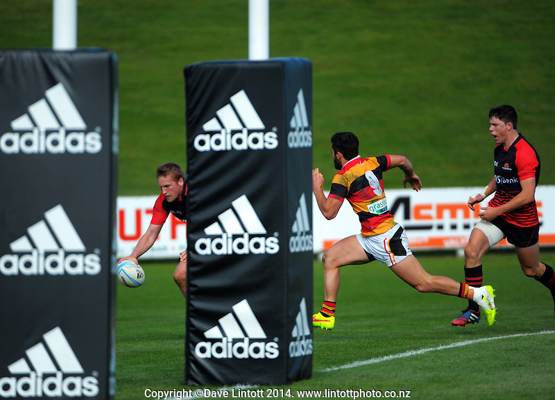 Action from the Under-19 provincial Graham Mourie Cup semifinal match between Waikato and Canterbury at Owen Delaney Park, Taupo, New Zealand on Wednesday, 1 October 2014. Photo: Dave Lintott / lintottphoto.co.nz