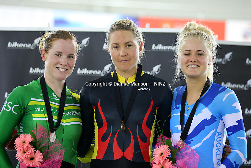 Mid South Canterbury's Lauren Ellis, Silver, Waikato BOP's Jaime Nielsen, Gold, and Auckland's Georgia Williams, Bronze, in the WE 3000m Avant Individual Pursuit  at the BikeNZ Elite & U19 Track National Championships, Avantidrome, Home of Cycling, Cambridge, New Zealand, Thursday, March 13, 2014. Credit: Dianne Manson