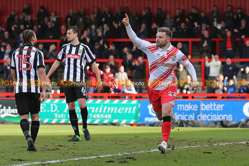 Matthew Godden of Stevenage scores the first goal for his team and celebrates during Stevenage vs Notts County, Sky Bet EFL League 2 Football at the Lamex Stadium on 4th March 2017