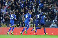 Pictured: Wes Morgan (R) of Leicester City celebrates his opening goal Saturday 27 August 2016<br /> Re: Swansea City FC v Leicester City FC Premier League game at the King Power Stadium, Leicester, England, UK