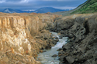 River Lethe carves canyon through ash deposits in Valley of Ten Thousand Smokes, Katmai National Park, Alaska, AGPix_0195.