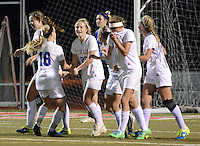 Villa Joseph Marie players celebrate after Casey Kilchrist (center #20) scored the game winning goal against Gwynedd Mercy Academy in the second half Wednesday November 4, 2015 at Souderton High School in Franconia, Pennsylvania.  (Photo by William Thomas Cain)