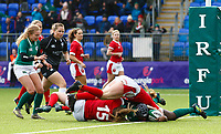 9th February 2020; Energia Park, Dublin, Leinster, Ireland; International Womens Rugby, Six Nations, Ireland versus Wales; Linda Djougang of Ireland scoring a try for 22 - 5