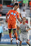 14 April 2012: Carolina's Amir Lowery (in orange) and Atlanta's Willie Hunt (13) challenge for a header. The Carolina RailHawks played the Atlanta Silverbacks to a 4-4 tie at WakeMed Soccer Stadium in Cary, NC in a 2012 North American Soccer League (NASL) regular season game.