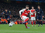 Arsenal's Olivier Giroud scoring his sides opening goal during the Champions League group A match at the Emirates Stadium, London. Picture date November 23rd, 2016 Pic David Klein/Sportimage