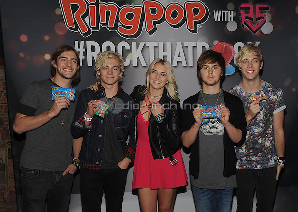 New York,NY-June 9: Rocky Lynch, Ross Lynch, Rydel Lynch, Ellington Ratliff, and Riker Lynch attend the Pop/Rock Sensation R5 and Ring Pop Premiere #RockThatRock Music Video at Gramercy Theatre in New York City on June 9, 2014. Credit: John Palmer/MediaPunch