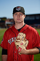 Erie SeaWolves pitcher Casey Mize (32) poses for a photo before an Eastern League game against the Altoona Curve on June 3, 2019 at UPMC Park in Erie, Pennsylvania.  Altoona defeated Erie 9-8.  (Mike Janes/Four Seam Images)