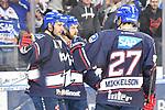 Jubel nach dem Treffer von Mannheims Matthias Plachta (Nr.22) links daneben Mannheims Andrew Desjardins (Nr.84) und rechts Mannheims Brendan Mikkelson (Nr.27)  beim Spiel in der DEL, Adler Mannheim (blau) - Augsburger Panther (weiss).<br /> <br /> Foto &copy; PIX-Sportfotos *** Foto ist honorarpflichtig! *** Auf Anfrage in hoeherer Qualitaet/Aufloesung. Belegexemplar erbeten. Veroeffentlichung ausschliesslich fuer journalistisch-publizistische Zwecke. For editorial use only.