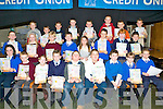 POSTER COMPETITION: The students who took part in the 8-10 years Clanmaurice Credit Union Poster competition who received their prizes at Causeway Comprehensive School on Thursday pictured Darragh Goulding, Morgan Lane, Jack Nolan, Eric Stack, Ciara?n Monahan, Rachel Burke, Rodha?n Enright, Thomas Staitch, Nathan Dineen, Claudia Healy, Gavin Leen, Darragh O'Connell, Niall Cullen, Mia Duggan, Sea?n Griffin, Sean Williams, Sean Sheehan, Dylan Browne, Gerard O'Neill, Leah Moriarty, Colm O'Halloran, Cian McGrath, Michael Taylor, Donal Lynch and Chloe Houlihan.