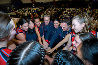 St Peters celebrate winning the 2019 Schick AA Girls' Secondary Schools Basketball National Championship final between St Peters School Cambridge and Hamilton Girls' High School at the Central Energy Trust Arena in Palmerston North, New Zealand on Saturday, 5 October 2019. Photo: Dave Lintott / lintottphoto.co.nz