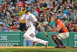 9 June 2012: Boston Red Sox second baseman Dustin Pedroia in action against the visiting Washington Nationals at Fenway Park in Boston, MA. The Nationals defeated the Red Sox 4-2 in the second game of their 3-game series. Mandatory Credit: Ed Wolfstein Photo