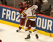 Luke Esposito (Harvard - 9), Brenden Kotyk (UMD - 10) - The University of Minnesota Duluth Bulldogs defeated the Harvard University Crimson 2-1 in their Frozen Four semi-final on April 6, 2017, at the United Center in Chicago, Illinois.